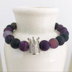 Purple Matte Agate Queen Beaded Bracelet